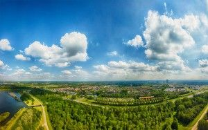 Drone panorama of Almere-Stad