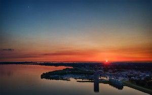 Drone sunset over Almere-Haven