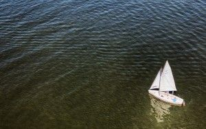 Sailing boat by drone