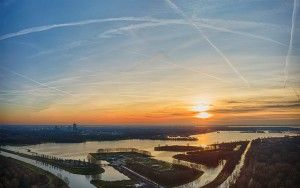 Sunset drone panorama of lake Noorderplassen