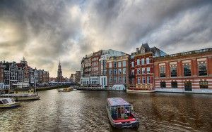 End of Amstel river in Amsterdam