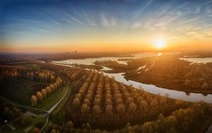 Autumn drone sunset panorama of lake Noorderplassen