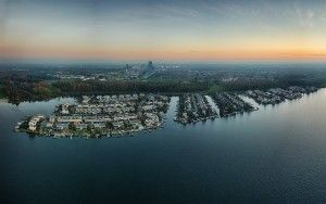 Drone panorama of the Noorderplassen neighbourhood during sunset