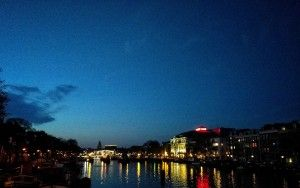 Evening view over the Amstel river