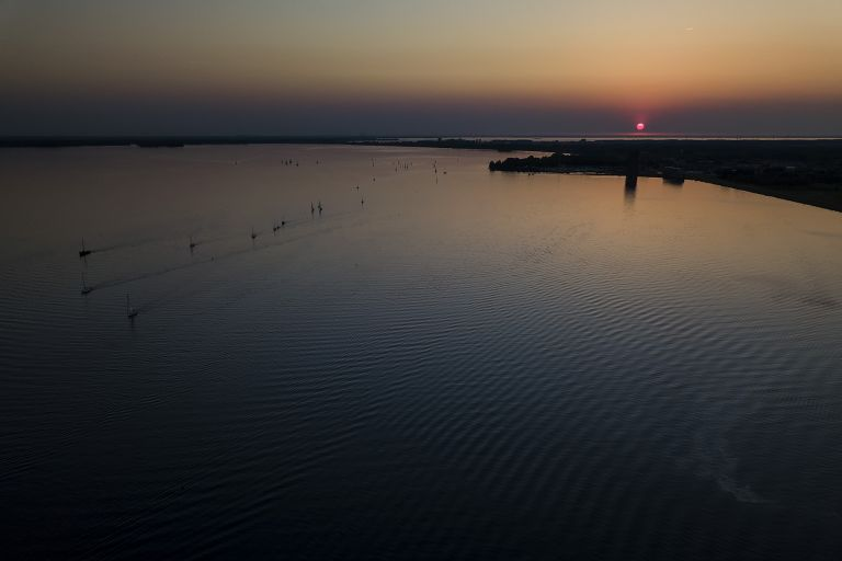 Sunset over Gooimeer by drone