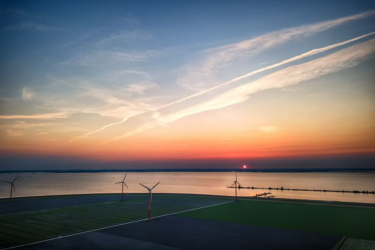 Sunset over Almere Pampus