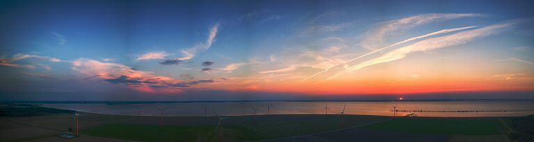 Sunset panorama over Almere-Pampus