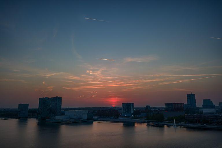 Drone sunset over Almere city centre