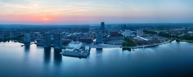 Panorama sunset over Almere city centre by drone