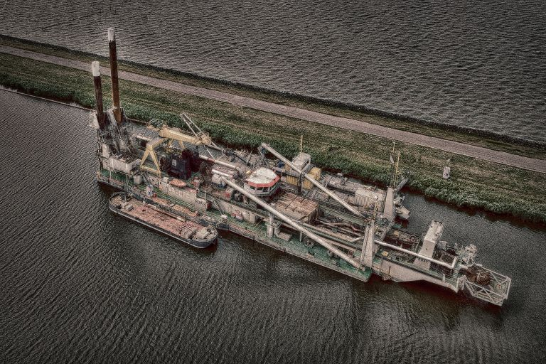 HDR drone picture of industrial barge