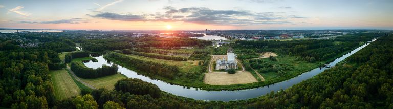 Sunset panorama of Almere Castle