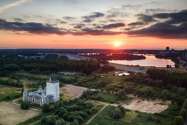 Overlooking lake Weerwater from my drone during sunset