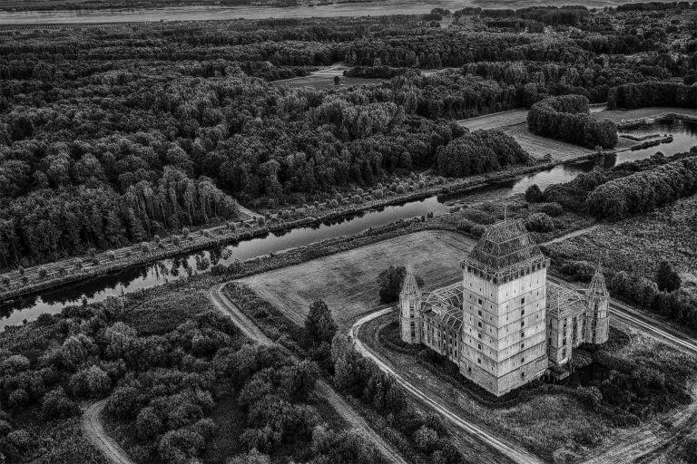 Black & white drone picture of Almere Castle