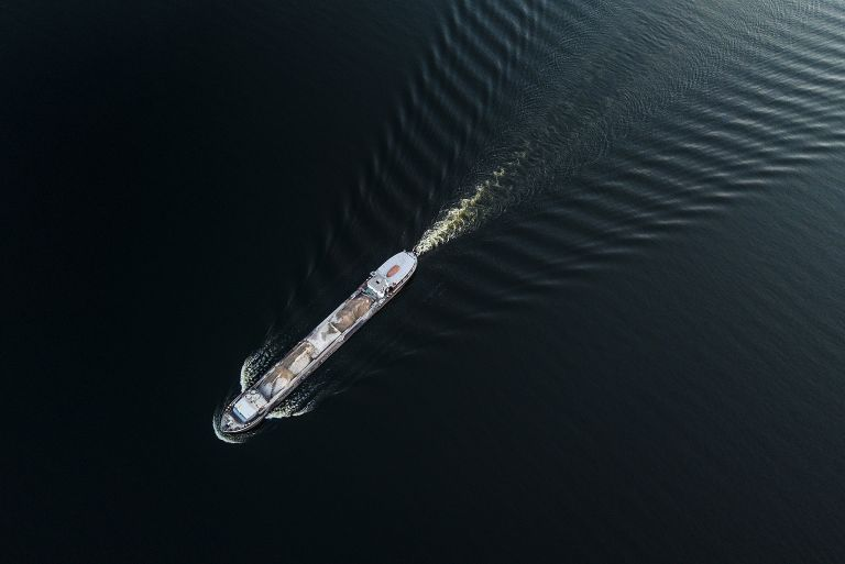 Boat on lake Gooimeer