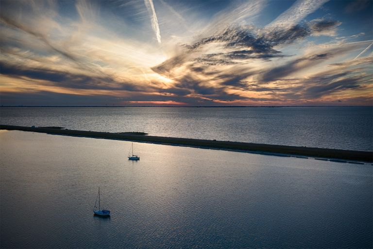 Boats from my drone during sunset