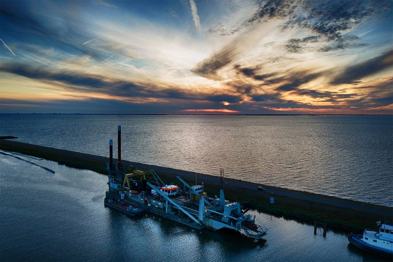 Industrial barge from my drone during sunset