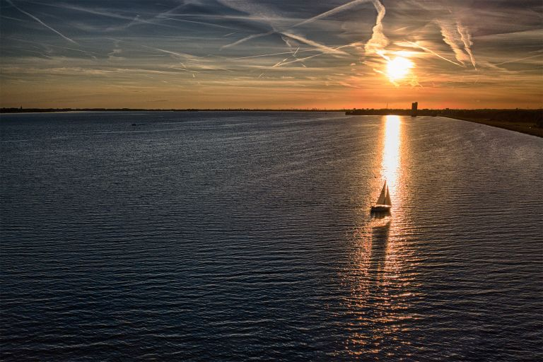 Boat during sunset from my drone