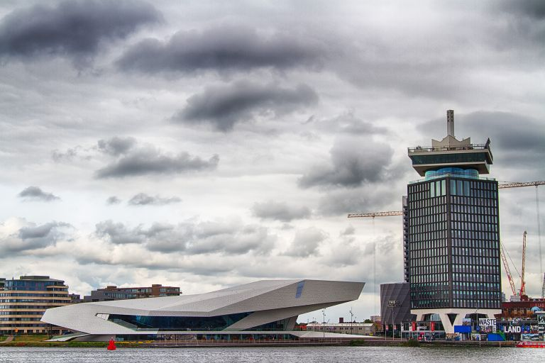 EYE film museum and A'DAM Toren on a cloudy day