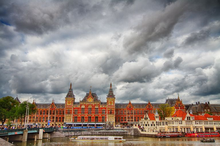 Amsterdam Central Station on a cloudy day
