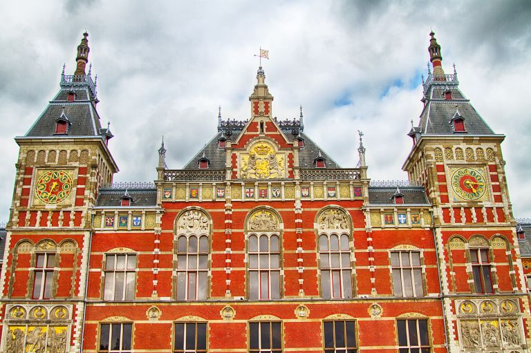 Looking up at Amsterdam Central Station