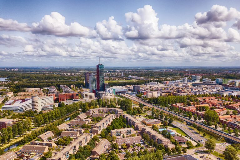 Drone view of business district of Almere