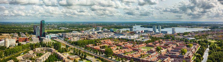 Almere city centre drone panorama