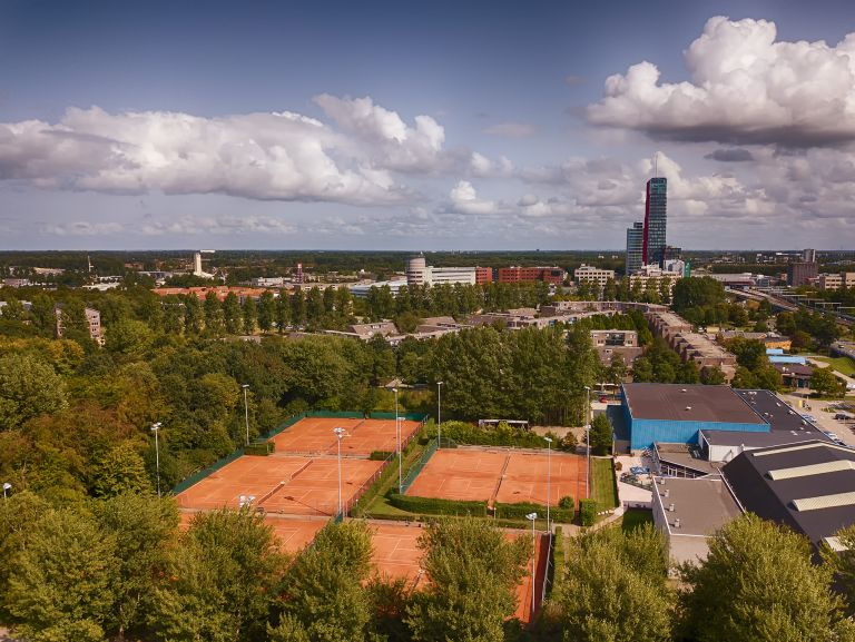 Tennis courts and high-rise from my drone