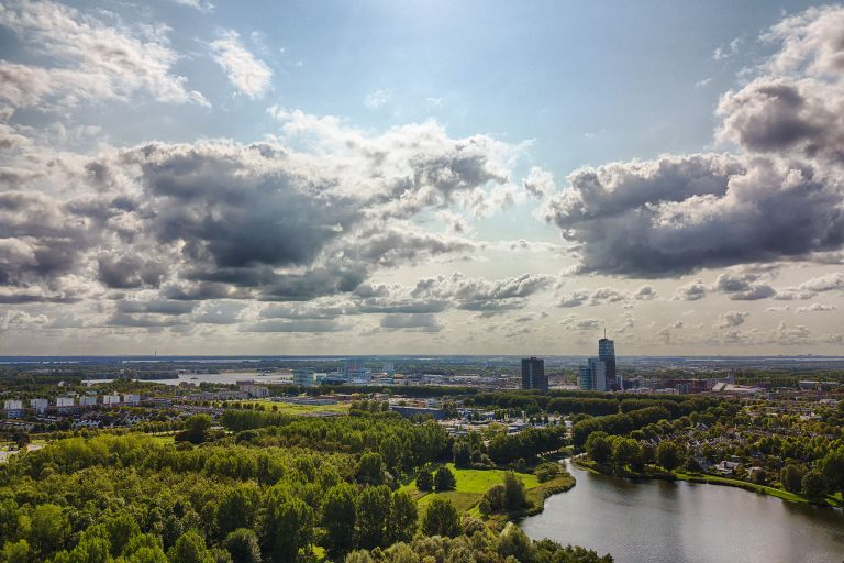 Drone picture from Leeghwaterplas in Almere