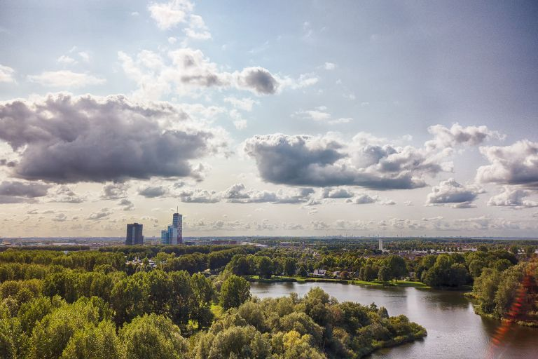 Drone picture of Hanny Schaftpark in Almere