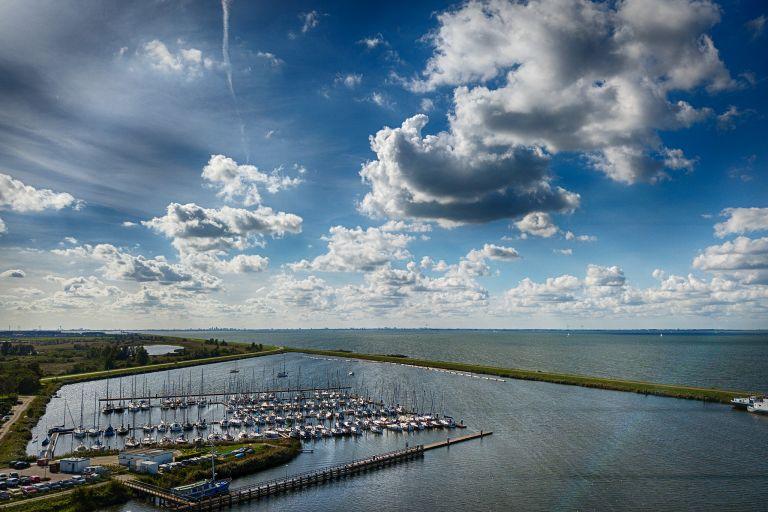 Dutch summer clouds over Oostvaardersdiep