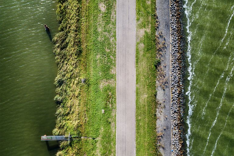 Top-down drone picture of of a dike