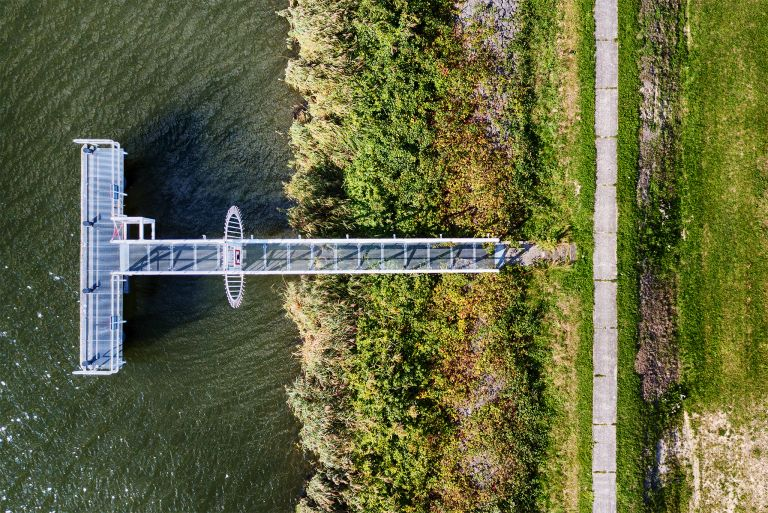 Top-down drone picture of a jetty