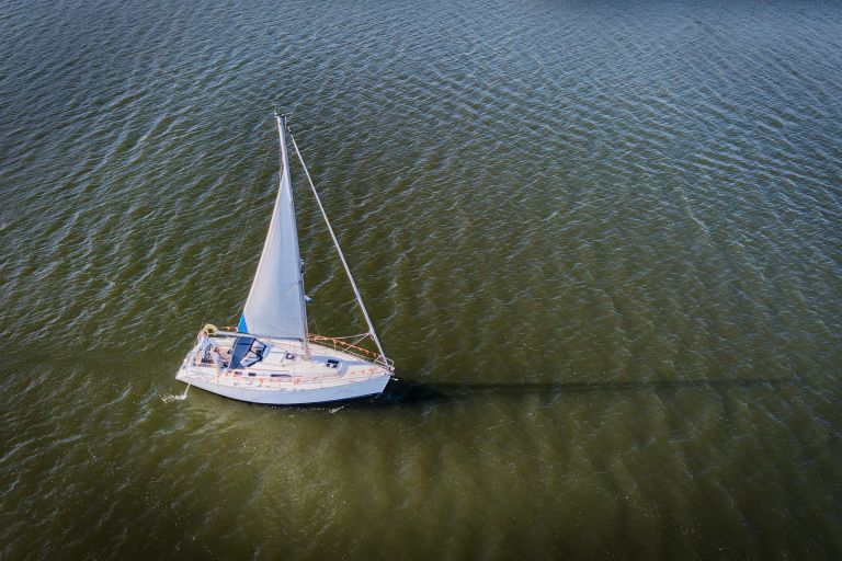 Lonely sailing boat from my drone