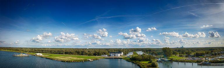 Drone panorama of Oostvaardersdiep