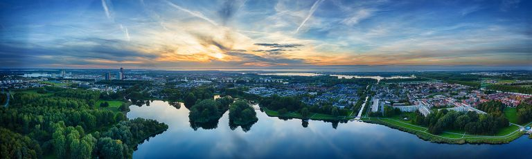 Sunset drone panorama of lake Leeghwaterplas