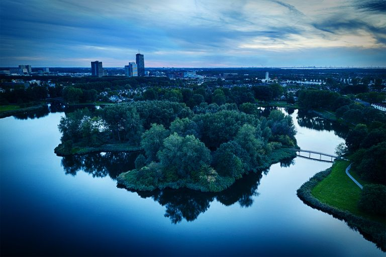 Sunset drone picture of lake Leeghwaterplas