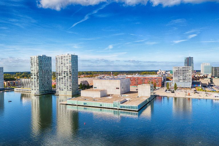 Almere city centre by drone on a nice day