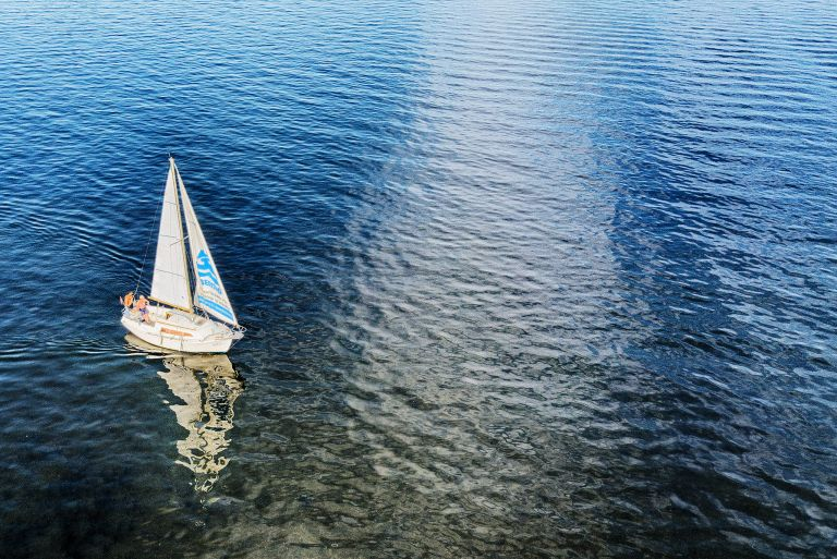 My father sailed on lake Gooimeer as I flew my drone