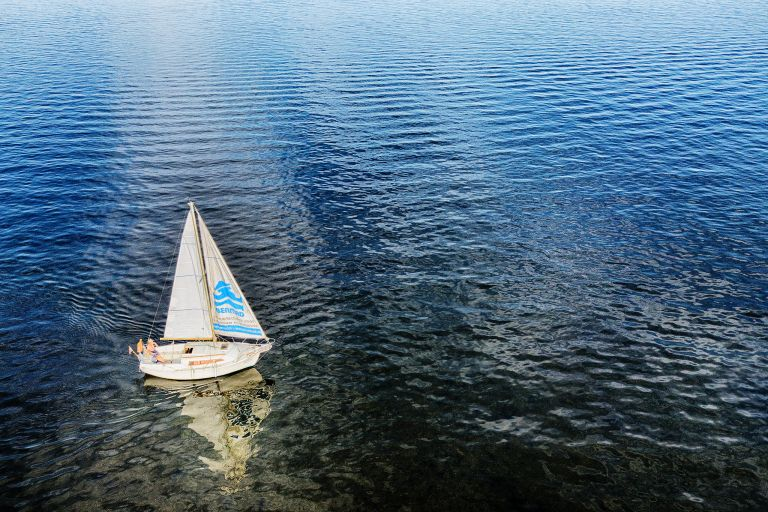 Sailing boat of my father on lake Gooimeer