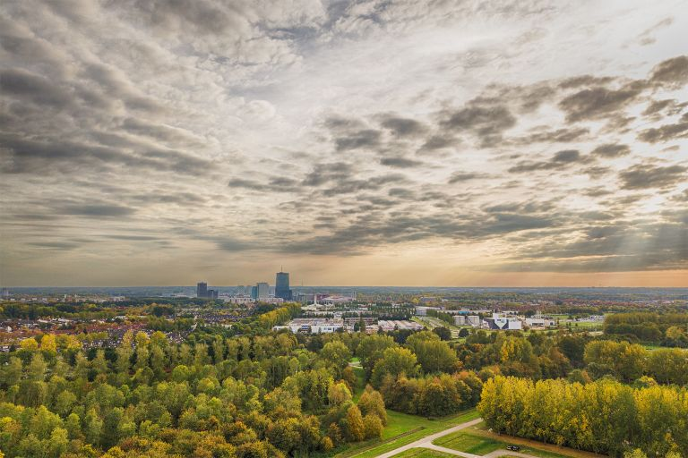 Almere by drone in autumn