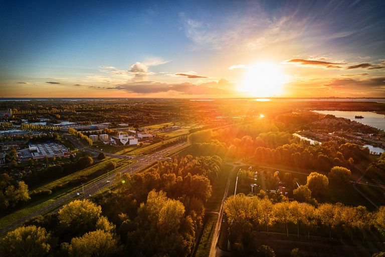 Autumn sunset by drone