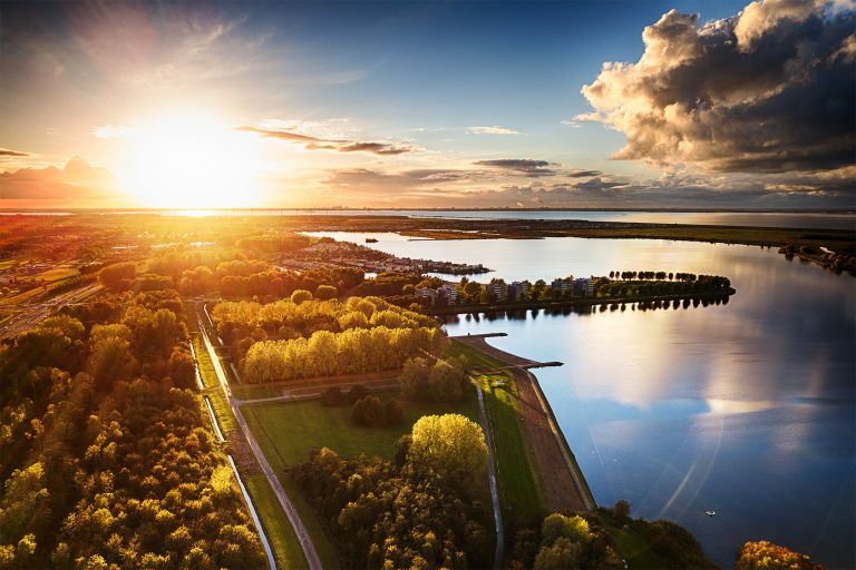 Autumn sunset by drone at Noorderplassen