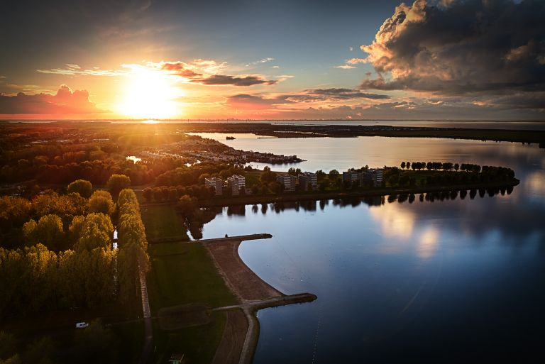 Lake Noorderplassen sunset by drone