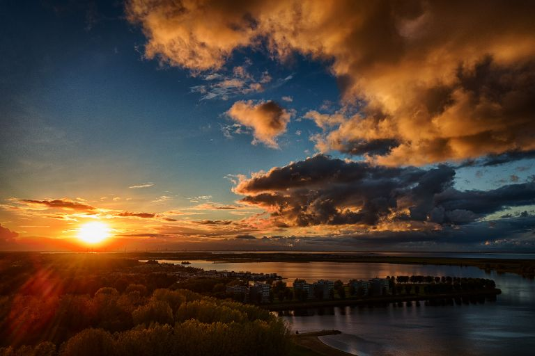 Drone sunset at lake Noorderplassen