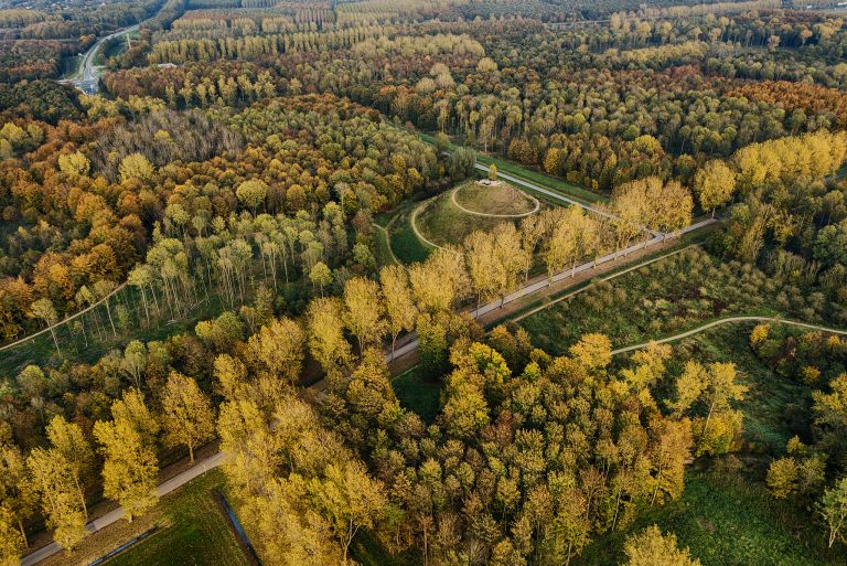 Autumn trees and Almere-Boven