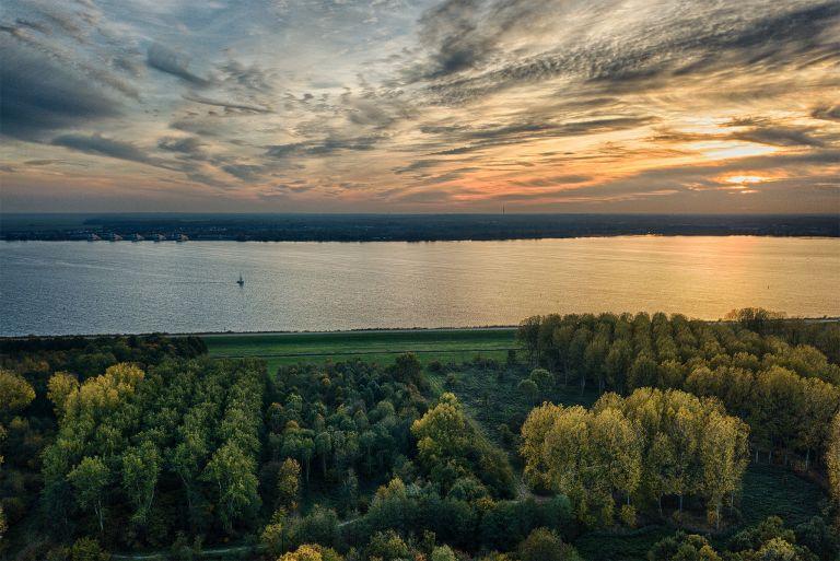 Autumn sunset of lake Gooimeer