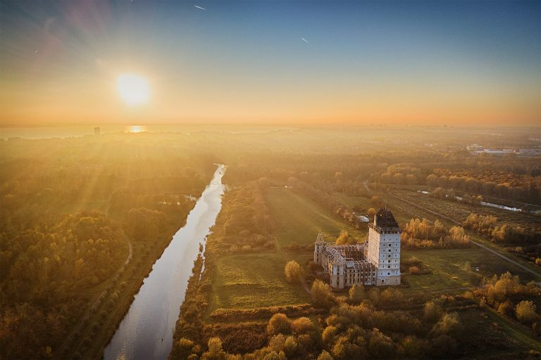 Almere castle drom my drone just before sunset