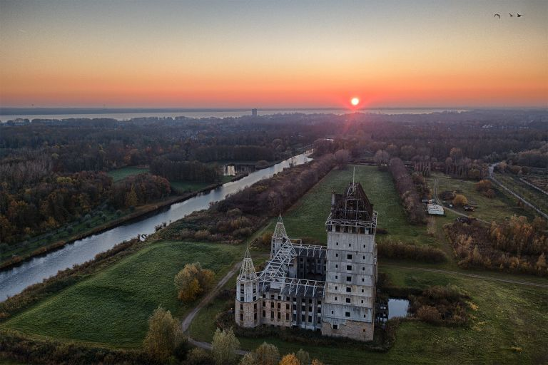 Drone picture of Almere Castle during sunset