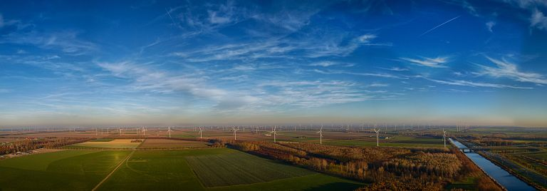 Drone panorama of the windmills near Almere