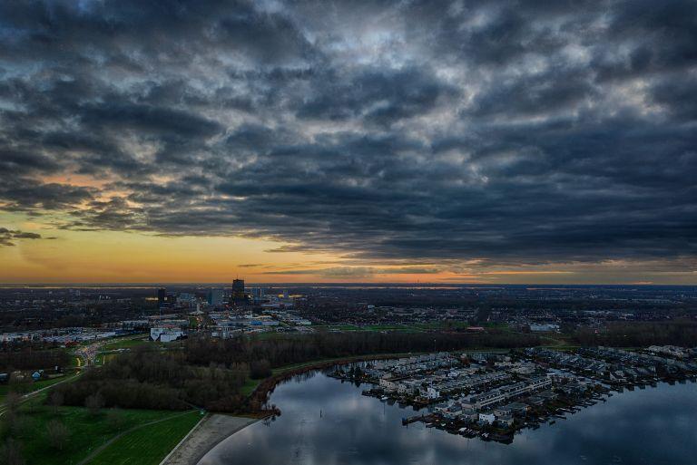 Drone sunset over lake Noorderplassen